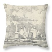 New York From Ellis Island Throw Pillow