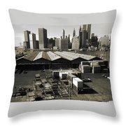 Old New York Harbor Skyline Throw Pillow