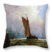New York Harbor With The Brooklyn Bridge Under Construction Throw Pillow
