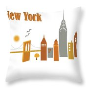 New York Horizontal Scene - Brooklyn Bridge Throw Pillow