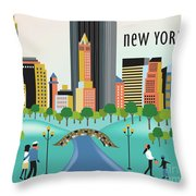 New York Horizontal Skyline - Central Park Throw Pillow