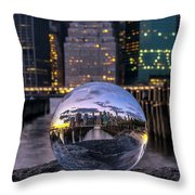 New York In Glass Ball Throw Pillow