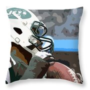 New York Jets Football Team And Original Yellow Typography Throw Pillow