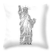 New York Lady Liberty Words Throw Pillow