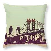 New York Manhattan Bridge Throw Pillow