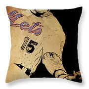 New York Mets 15 Red And Blue Vintage Cards On Brown Background Throw Pillow