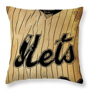 New York Mets 21 Red And Blue Vintage Cards On Brown Background Throw Pillow