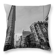 New York Ny Flatiron Building Fifth Avenue Black And White Throw Pillow