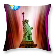 New York Nyc - Statue Of Liberty 2 Throw Pillow