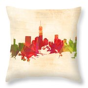 New York Orange Skyline Throw Pillow
