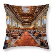 New York Public Library Main Reading Room I Throw Pillow