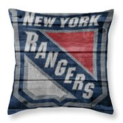 New York Rangers Barn Door Throw Pillow