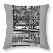 New York Skating Throw Pillow