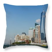 New York Skyline And Sailboat Throw Pillow