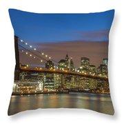 New York Skyline - Brooklyn Bridge - 4 Throw Pillow