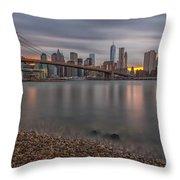New York Skyline - Brooklyn Bridge - 9 Throw Pillow