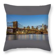 New York Skyline - Brooklyn Bridge Throw Pillow