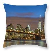 New York Skyline - Brooklyn Bridge Panorama - 2 Throw Pillow
