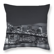 New York Skyline - Brooklyn Bridge Panorama - 4 Throw Pillow