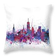 New York Skyline Color Splatter Throw Pillow