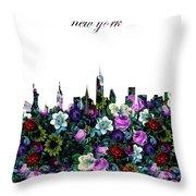 New York Skyline Floral 3 Throw Pillow