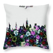 New York Skyline Floral 4 Throw Pillow