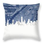 New York Skyline Map 2 Throw Pillow