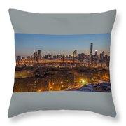 New York Skyline - Queensboro Bridge Throw Pillow