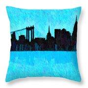 New York Skyline Silhouette Cyan - Da Throw Pillow