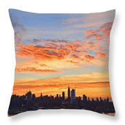 New York Skyline Sunrise Clouds And Color Throw Pillow