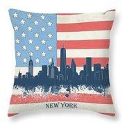 New York Skyline Usa Flag 4 Throw Pillow
