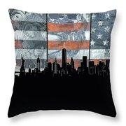 New York Skyline Usa Flag 5 Throw Pillow