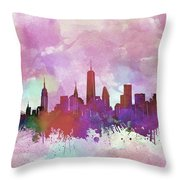 New York Skyline Watercolor 3 Throw Pillow