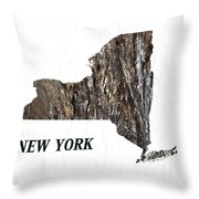 New York State Map Throw Pillow