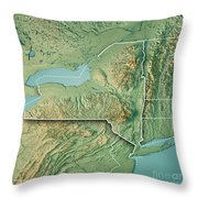 New York State Usa 3d Render Topographic Map Border by Frank Ramspott