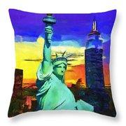 New York Statue Of Liberty Throw Pillow