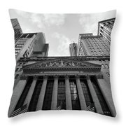 New York Stock Exchange Black And White Throw Pillow