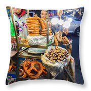 New York Street Vendor Throw Pillow