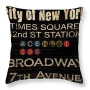 New York Subway Throw Pillow