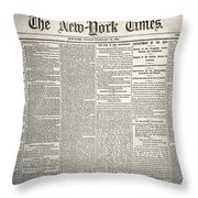 New York Times, 1864 Throw Pillow