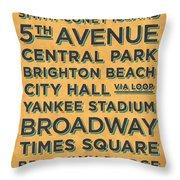 New York Train Stations Retro Vintage - Black On Yellow Throw Pillow