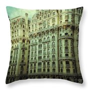 New York Upper West Side Apartment Building Throw Pillow