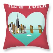 New York Vertical Skyline - Heart Throw Pillow