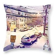 New York Winter Throw Pillow