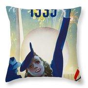 New York, World Fair, Firework, Woman In Blue Dress Throw Pillow