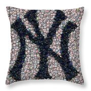 New York Yankees Bottle Cap Mosaic Throw Pillow by Paul Van Scott