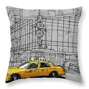 New York Yellow Cab Throw Pillow