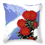 New Zealand Rata Blossom Vintage Travel Poster Throw Pillow