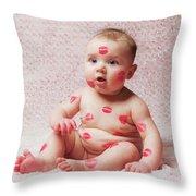Newborn Baby Gir Filled Kisses Throw Pillow