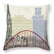 Newcastle Skyline Poster Throw Pillow